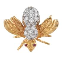 Diamond and Ruby Bee Pin 2