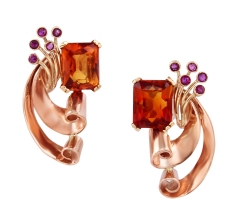 Pink Gold Citrine and Ruby Earrings 2